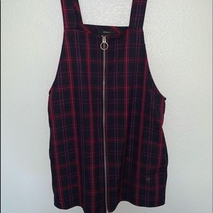 FOREVER 21 PLAID OVERALL DRESS